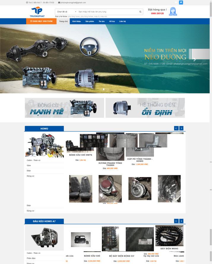 Thiết kế website phụ tùng ô tô