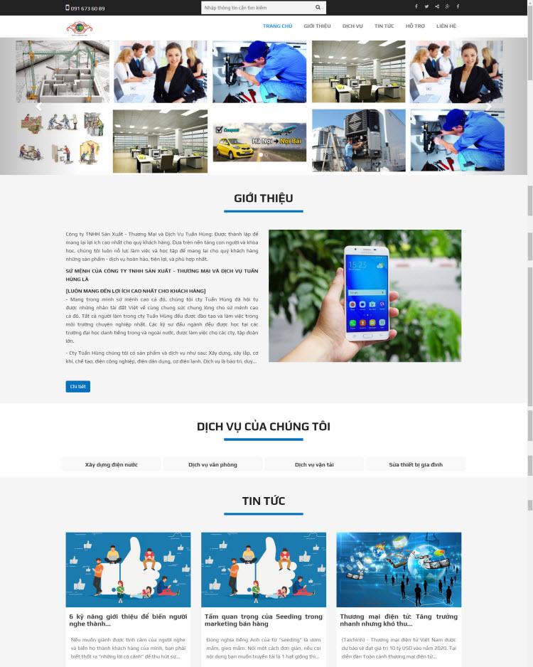 Thiết kế website công ty dịch vụ sử chữa nhà
