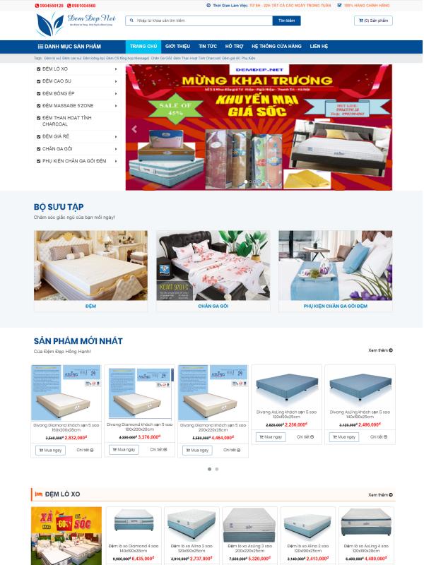 Thiết kế website bán hàng đệm đẹp