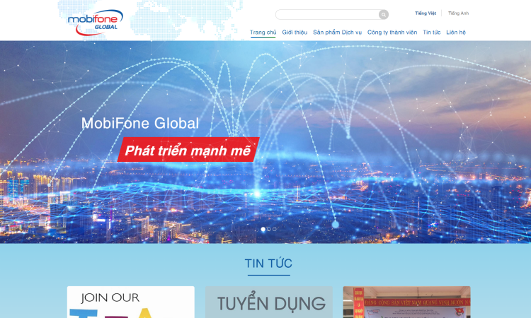 Thiết kế website cho công ty mobifone global - NW202004