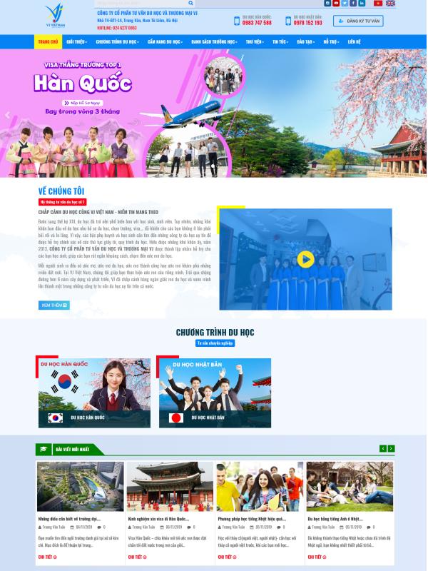 Giao diện website cho lĩnh vực du học